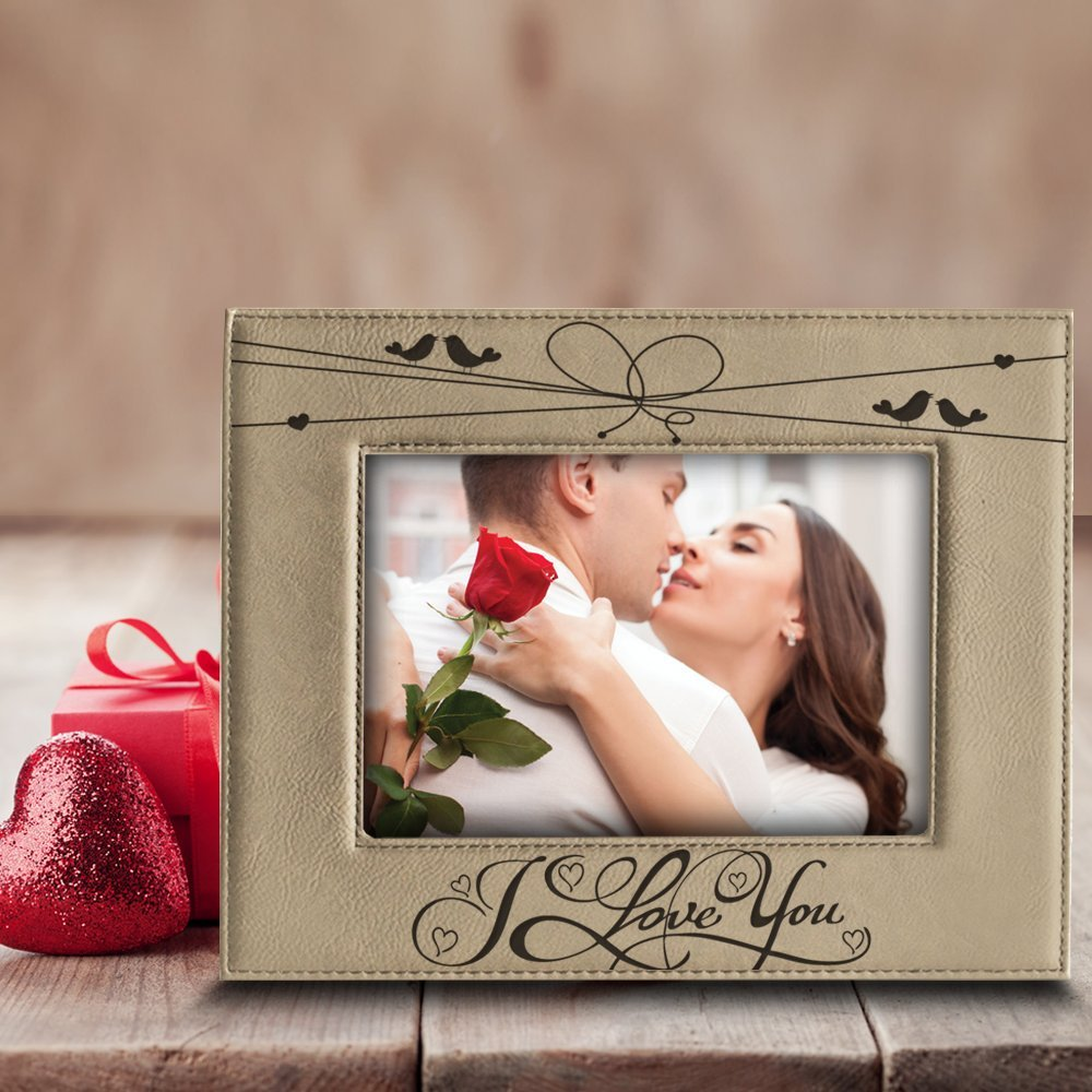 5x 7 Vertical BELA BUSTA Engraved Leather Picture Frame- Gift BOD Include Wedding Gifts for The Couple BELLA BUSTA- I Love You