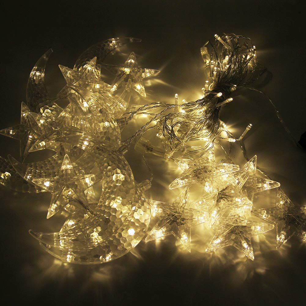 Twinkle Star 138 LED Star Moon Curtain String Lights,Window Curtain Lights with 8 Flashing Modes Decoration for Wedding,Party,Home,Patio Lawn,Warm White by Twinkle Star (Image #5)