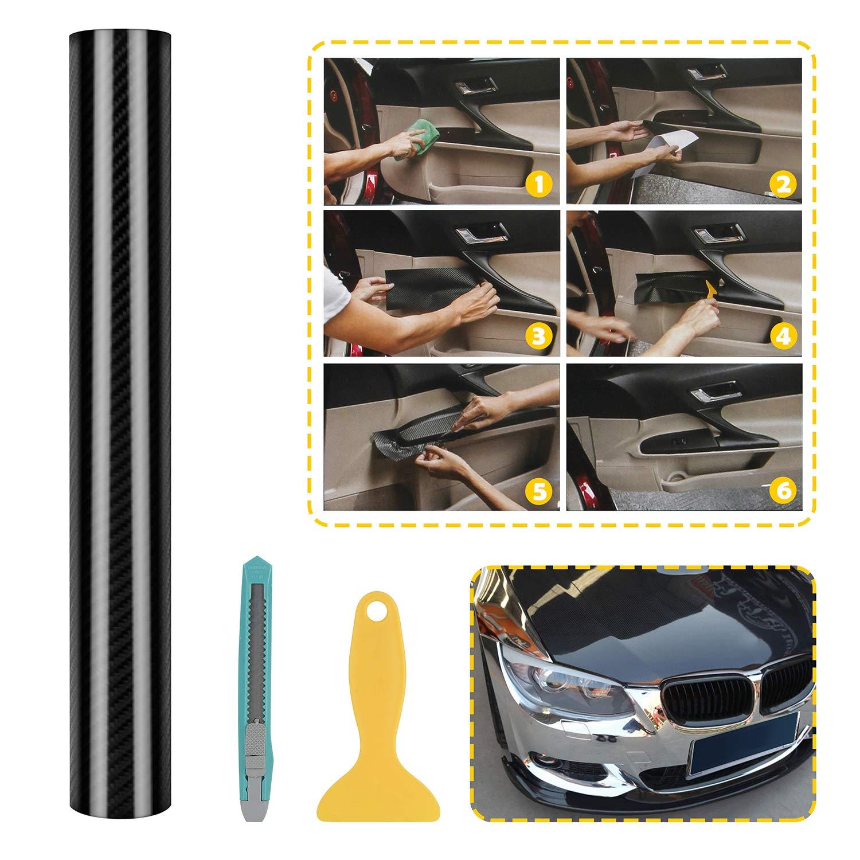 5D Pellicola Adesiva in Lamina di Carbonio ad Alta Brillantezza Senza Bolle Tecnologia di Cnale daria Malleabile 3D Trasparente in Fibra di Carbonio 30 x 150 cm