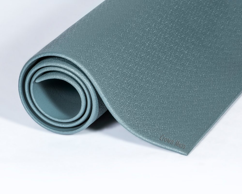 Crown Wear-Bond Tuff-Spun 3/8'' Pebble 6'x60' Anti-Fatigue Ergonomic Steel Gray Floor Mat Roll