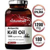 Maximum Strength Antarctic Krill Oil Supplement, 1200mg Per Serving, 180 Softgels, Source of Natural Omega 3, EPA, DHA and Astaxanthin, No GMOs and Made in USA