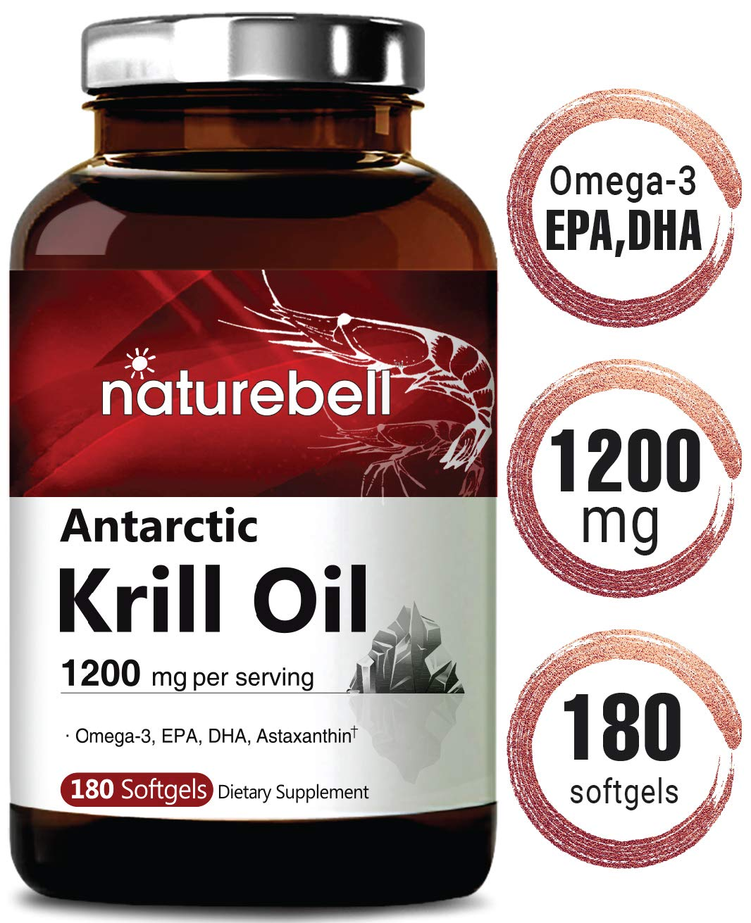 Maximum Strength Antarctic Krill Oil Supplement, 1200mg Per Serving, 180 Softgels, Source of Natural Omega 3, EPA, DHA and Astaxanthin, No GMOs and Made in USA by NatureBell