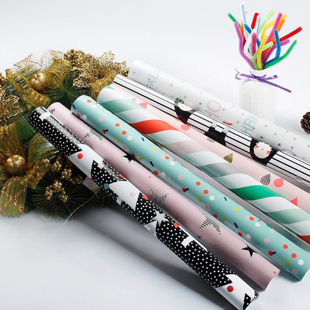 Asien 7pcs de Cadeau de No/ël Wrap Papier demballage de No/ël Ensemble avec des Lignes d/écoratives Rolls