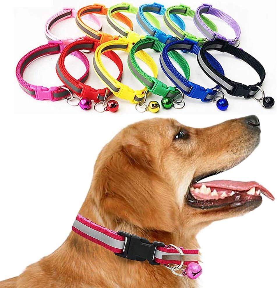 DragonPad ペット用反射パッチセーフティーカラーペット用首輪小型犬用19-32cm小型ベル付き 示されるように すべての黒のバックル反射