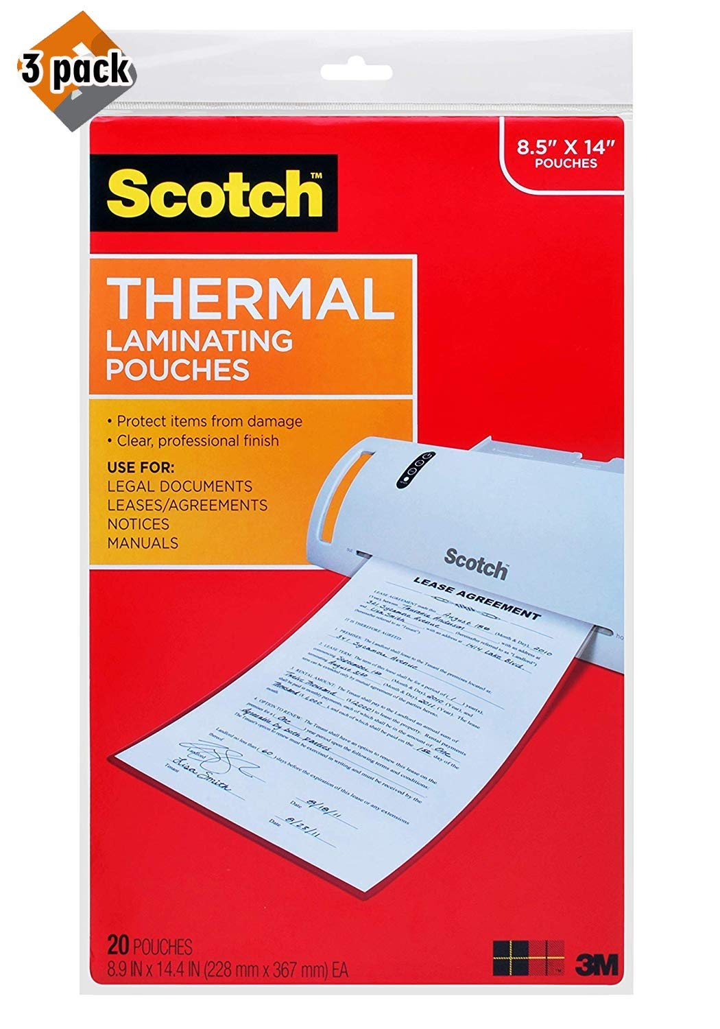 Scotch Thermal Laminating Pouches, 8.5'' x 14'' Inches, 20 Pouches, 3-Pack by Scotch Brand