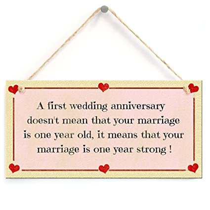 Amazon.com: Decorative Sign- A First Wedding Anniversary Sign with ...