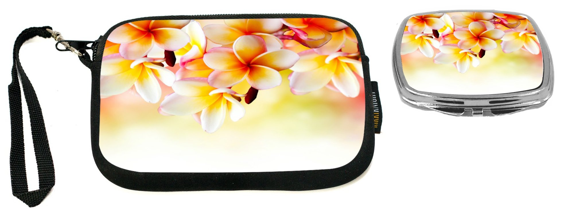 Rikki Knight Frangipani Tropical Spa Flower Design Neoprene Clutch Wristlet with Matching Square Compact Mirror