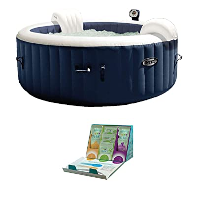 Intex PureSpa 4 Person Inflatable Hot Tub + SpaGuard