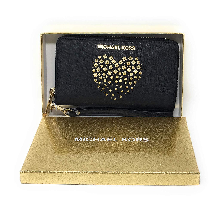 Michael Kors Giftables LG Flat MF Phone Case Black Saffiano Heart Studs by Michael Kors (Image #2)