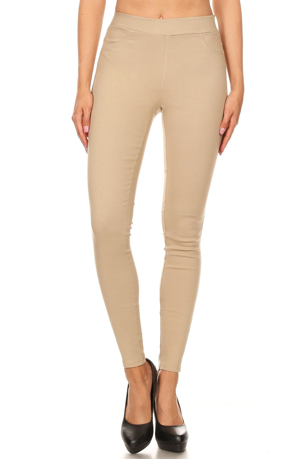 Jvini Women's High Waist Pull-On Skinny Super Stretchy Jeggings & Capris Regular & Plus Size (Medium, Khaki)