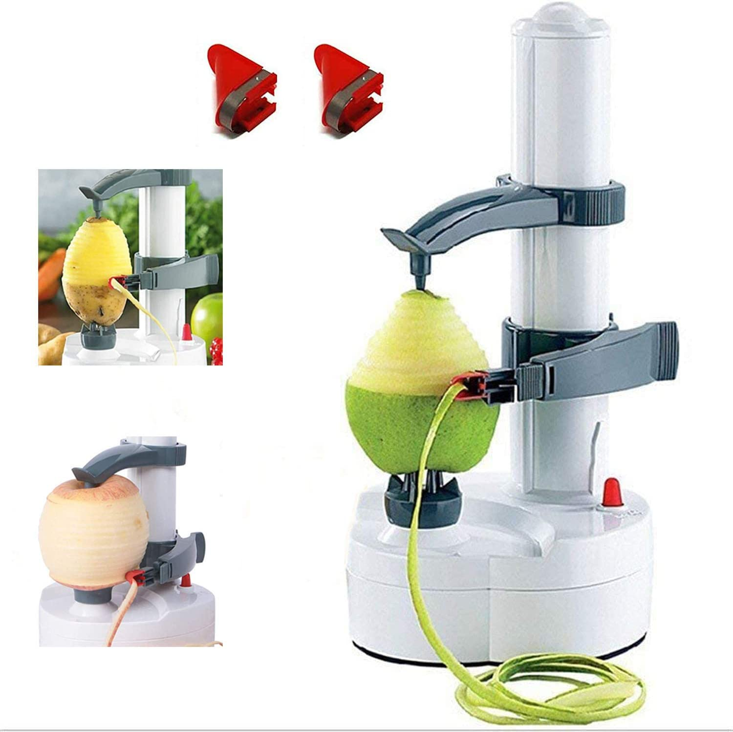 JIBIL Automatic Potato/Apple Peeler, Electric Rotating Fruits Vegetables Cutter Stainless Steel Blades Apple Paring Machine Kitchen Peeling Tool (White)