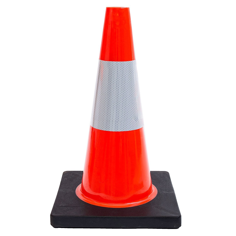 Orange Traffic Cone w/ 6'' 3M Reflective Collar 18'' (Pack of 12)