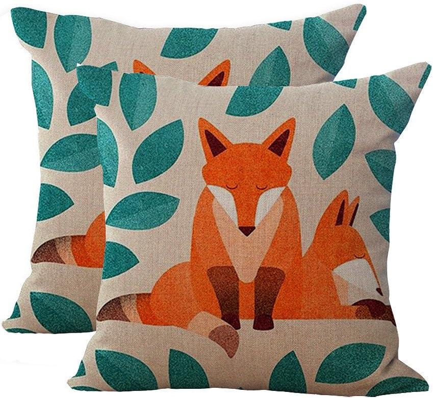 Key-Sunn Set of 2 Hand-Painted Cute Fox Cartoon Cushion Cover Cotton Linen Throw Pillow Case Sham Square Pillowcase for Home Sofa Kitchen Chair Seat Office