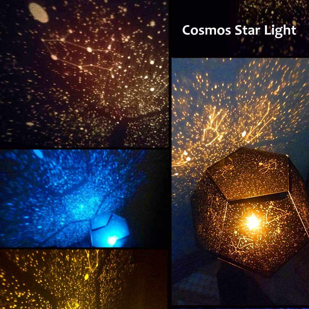 MinGz Starry Night Light Projector with 5 Colors of Bulbs,Fantasy Sky Map Projector,DIY Assembly Kid Bedroom Gift Lamp for Birthday Party