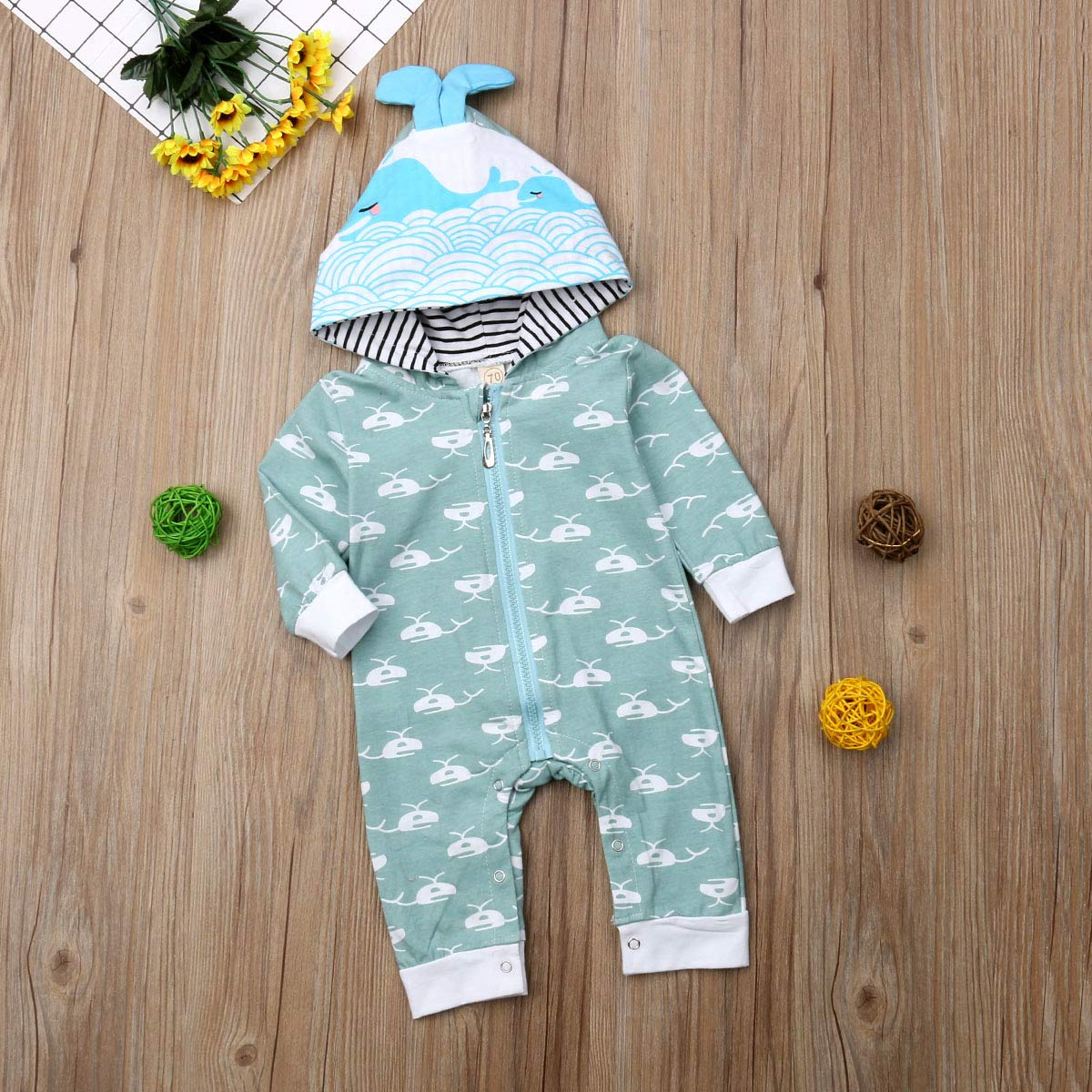 remeo suit Baby Boy Girl Cute Whale Pattern Hooded Romper Zipper Jumpsuit Clothes