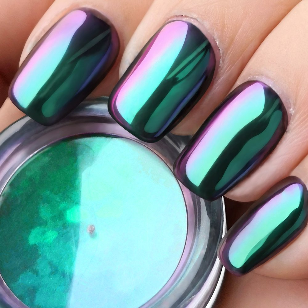 Amazon.com : PrettyDiva Opal Chrome Nail Powder Top Grade Mirror ...