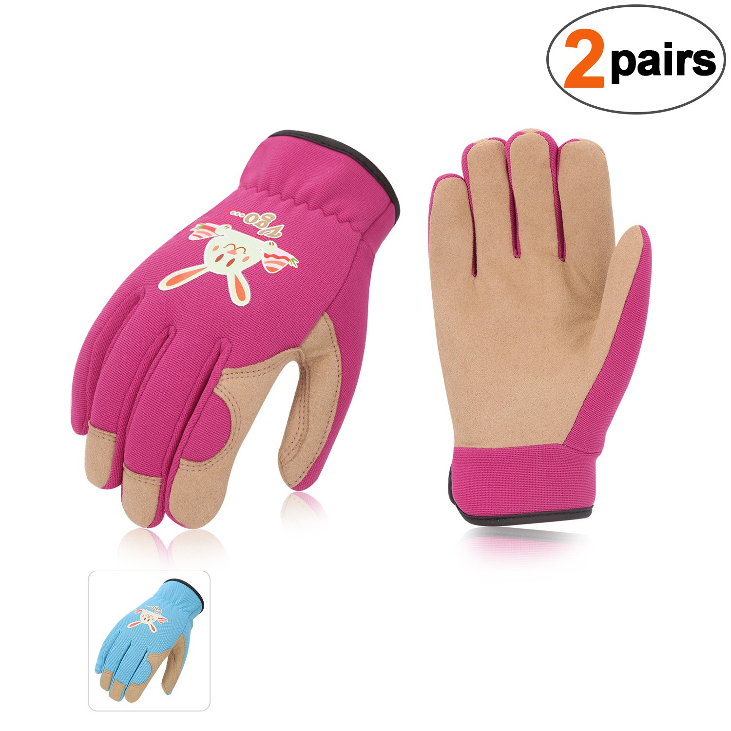 Vgo... Kids Age 3-4 Gardening,Lawing,Working Gloves(2Pairs,Size XS, 2Colors,Synthetic Leather and Spandex,KID-SL7362)