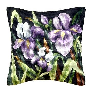 El Iris moradoy cojín Punto de Cruz Kit: Amazon.es: Hogar
