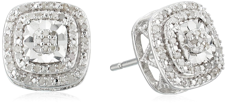 b5d4dddda86 Amazon.com  sterling silver double halo diamond stud earrings (1 4 ...