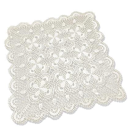 tidetex Vintage hecho a mano algodón toalla de ganchillo mantel pequeño sofá cuadrado para toalla diseño de flores hueca de encaje funda para mesa blondas ...