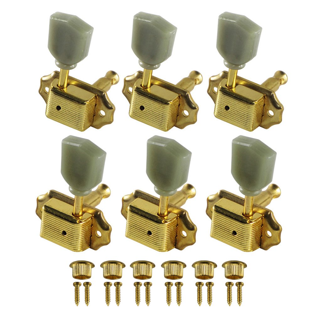 IKN 3L3R Deluxe Guitar Tuning Pegs Machine Head Tuners for Gibson Les Paul Style Replacement, Real Golden Plated iknmusic M445