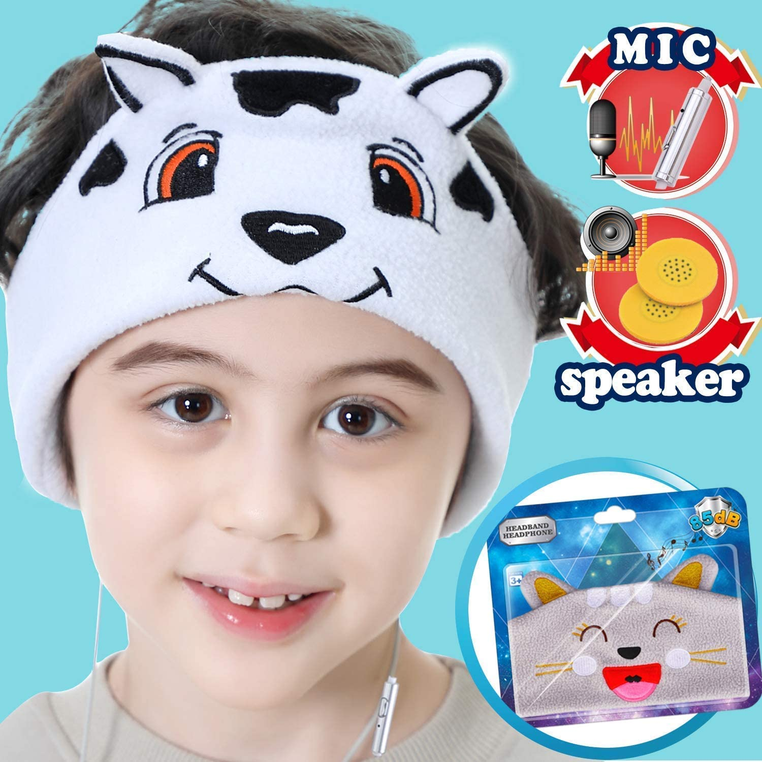 Kids Headphones Mic 85dB Volume Limited Ultra-Thin Speaker Soft Headband Headphone Toddler Teen Girls Boy Foldable Headset Audio Adjustable Wired On Earphones Christmas Winter Supplies, Dog