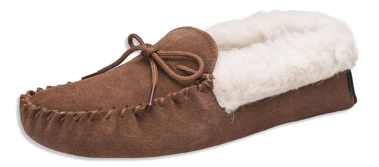 Nordvek - # 418-100 - Zapatillas de casa mujer - Tipo mocasín - Piel ovina auténtica - Suela de ante y collarín de lana: Amazon.es: Zapatos y complementos