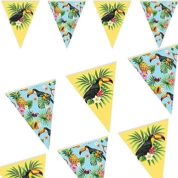 Folat 10 m de Guirnalda de banderines Tukan, como decoración para Fiestas temáticas o cumpleaños Infantiles.: Amazon.es: Juguetes y juegos