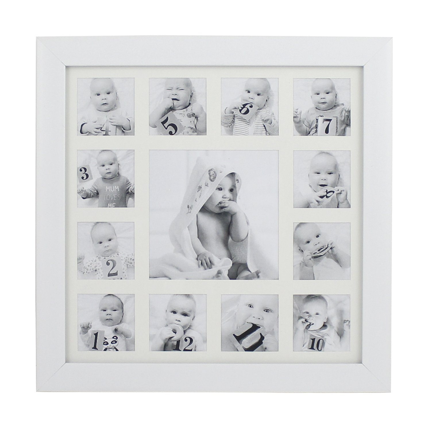Beriwinkle Baby Photo 13 Opening My First Year Collage Frame for Newborn Girls or Boys, Unique Baby Shower Gift for Registry, Memorable Keepsake Frame for Room Wall or Nursery Décor, White