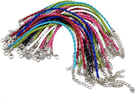 Coolrunner Leather Lace bracelet Cords DIY Jewelry Making Ropes with Lobster Clasps Extended Chain 30pcs