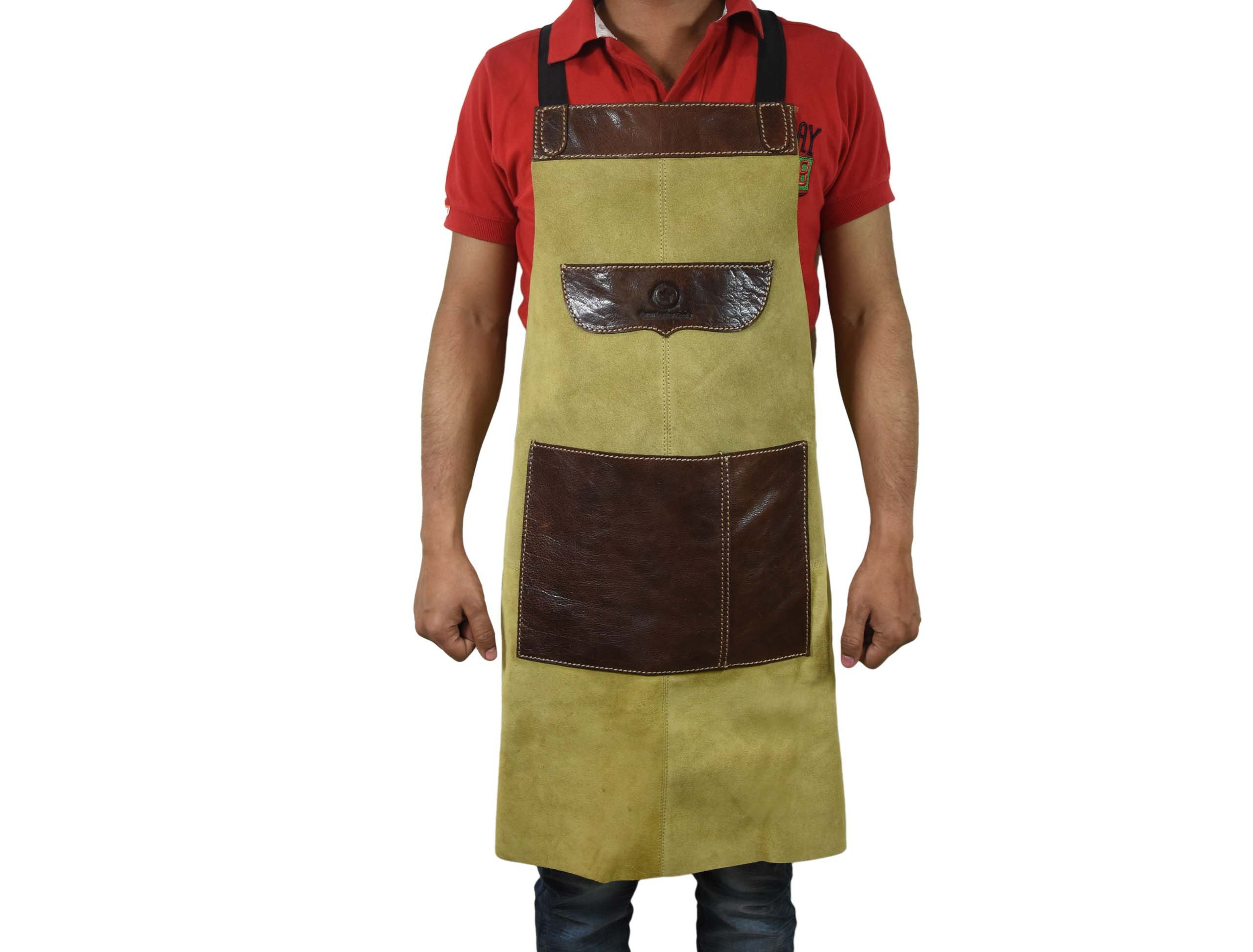 Aaron Leather One Size Fits All Leather Utility Apron | Adjustable Cross-Back Straps | Multi-Use Shop Apron with Tool Pockets (Khaki)