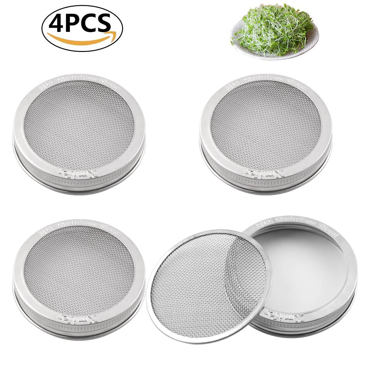 Sprouting Jar Strainer Lid - For Growing Organic Sprouts & Sprouter Screens - 304 Stainless Steel