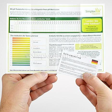 Simplex Health Tiras Reactivas pH (125 unidades) orina y saliva (con Acid gratuito y Bases Tabla de Alimentos como PDF): Amazon.es: Industria, ...