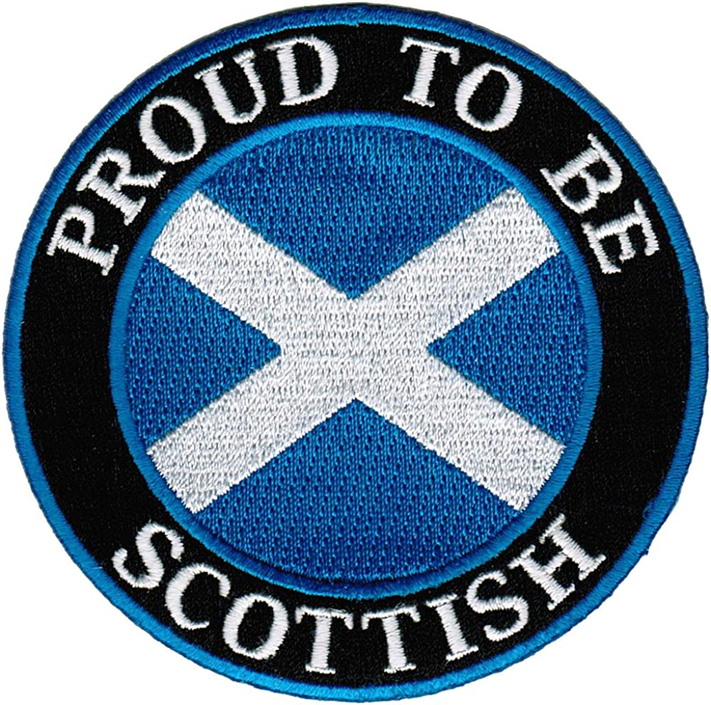 PROUD SCOTTISH BIKER embroidered PATCH SCOTLAND FLAG iron-on St Andrew/'s Cross