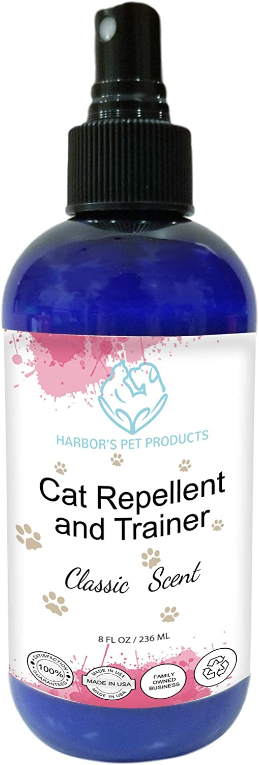 Harbor's Cat Repellent and Trainer - Cat Repellent Spray Indoor - 8 oz | Cat Training Spray | Cat Repellent for Furniture | Cat Repellent for Plant | 100% Satisfied or Return for Full Refund