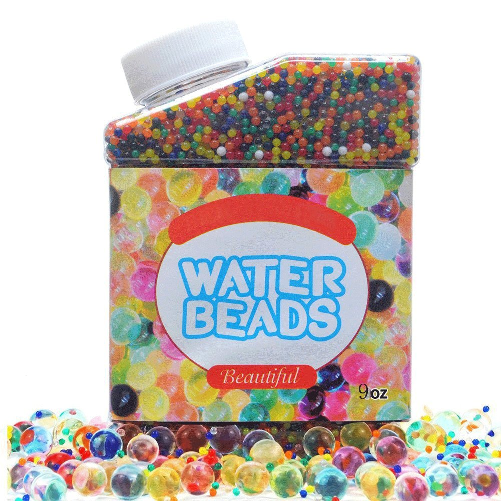 Simuer Water Beads Pearls Crystal Gel Pack(300ml/280g) Rainbow Mix Jelly Water Growing Balls for Kids Tactile Sensory Toys, Vases Filler, Plants, Wedding and Home Decoration