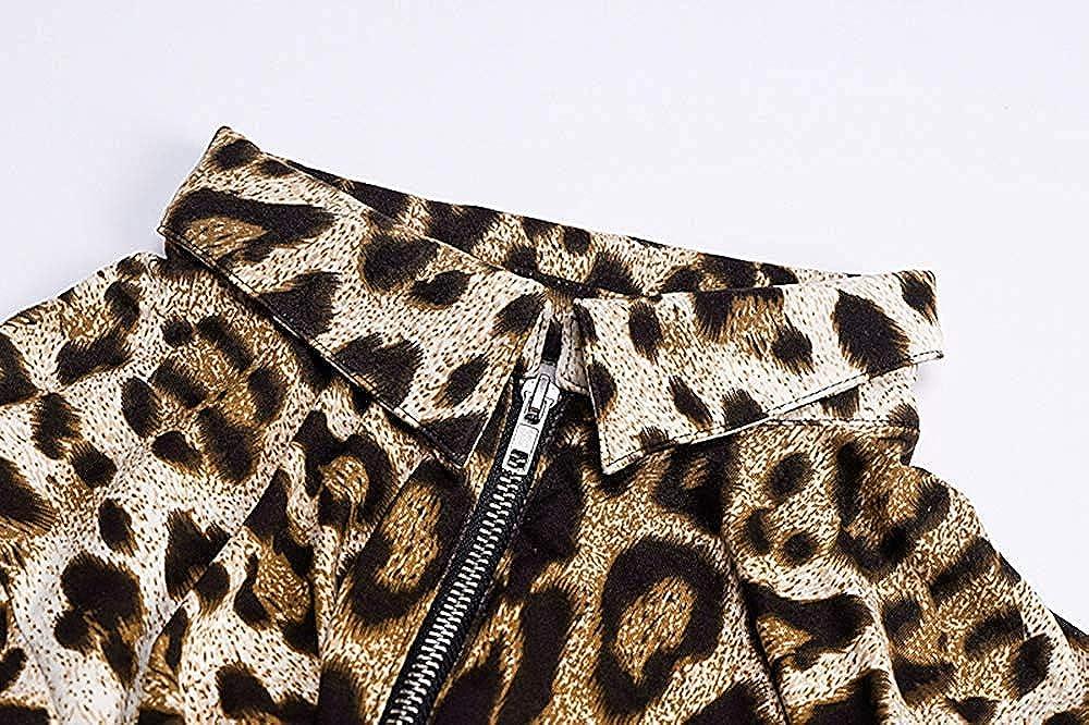 Loalirando Body Sexy Pelele de Mujer Ajustado con Cremallera Cuello en V Body de Mujer de Manga Larga con Estampado de Leopardo