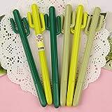 Taloyer 6pcs Novelty Cactus Gel Pen Kawaii Stationery Creative Gift School Supplies