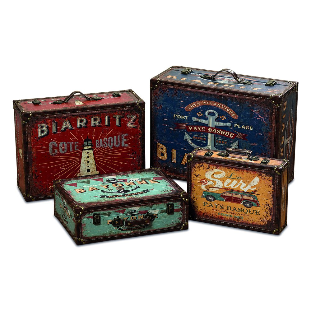 WHW Whole House Worlds World Traveler Seaside Suitcase Storage Boxes, Set of 4, Various Sizes, Over 2 1/2 Ft Stacked, Faux Leather, Wood, Lined, Brass Hardware