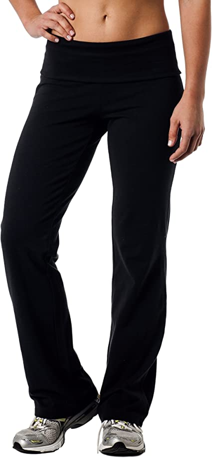 L New Women/'s Full Length Flare Bottom Yoga Pants with Fold Over Waist S M