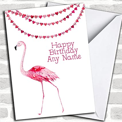 Image Unavailable Not Available For Color Pink Flamingo Personalized Birthday Card