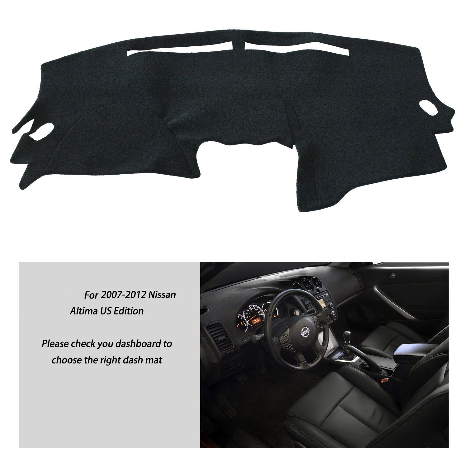 Nissan Altima 2007-2012, Black FLY5D Nissan Dashmat Dashboard Mat Sun Cover Car Interior Dash Cover For Nissan Altima 2007-2012