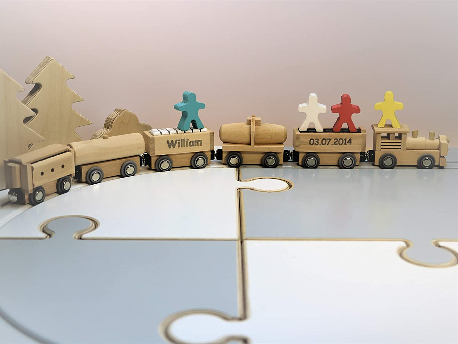 READY TO SHIP, Engraved Wooden Magnet Train Set, Wooden train set, Wooden train toy, Personalised Toy, Engraved gift, Wooden toy, baby Xmas