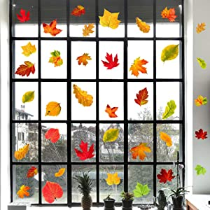 IARTTOP Thanksgiving Maple Leaf Wall Decal (48pcs), Watercolor Autumn Leaves Sticker for Window Clings Living Room Decor Fall Decals Party Decoration