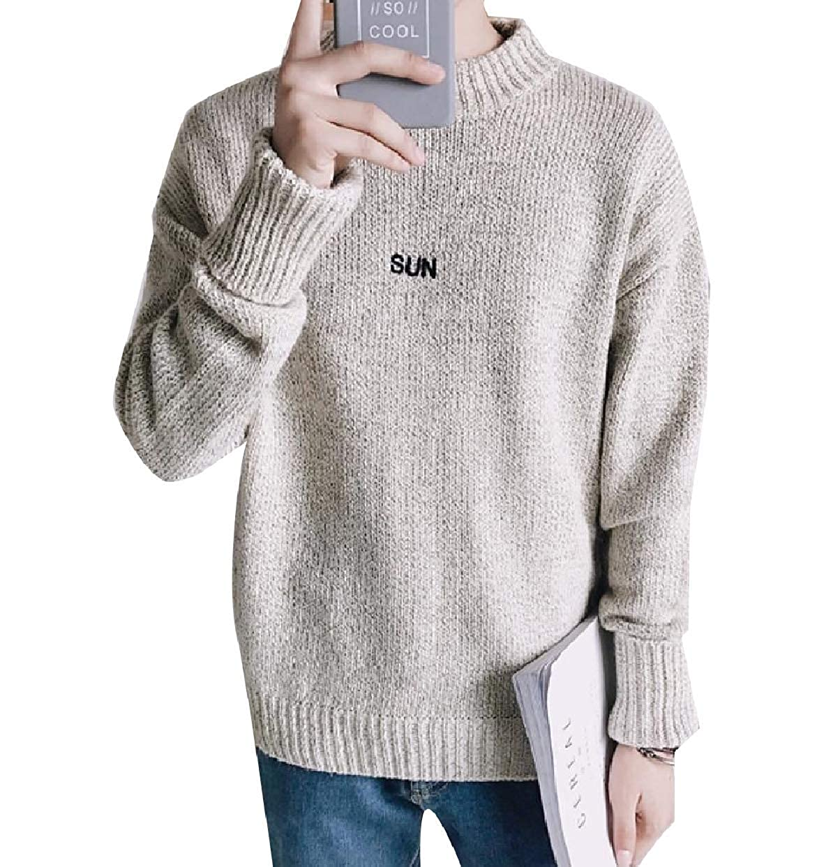 Zimaes-Men Casual Loose Embroidery Thermal Thicken Knitwear Sweater