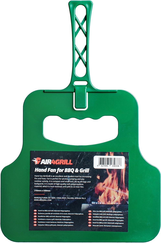 Air4Grill Grill Fan - BBQ Fan - Hand Crank Blower - Barbecue Coal Blower - Barbecue Manual Blower - BBQ Hand Fan (Red)