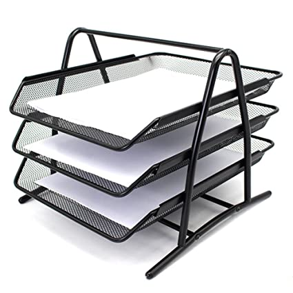 Bestmemories 3 Tier Stackable Office Letter Tray Desk Organizer Metal Triple Layer Folder Storage Stand Rack