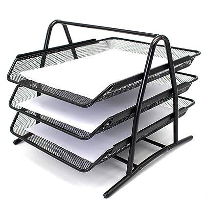 Bestmemories 3 Tier Stackable Office Letter Tray Desk Organizer Metal Triple Layer Folder Storage Stand Rack