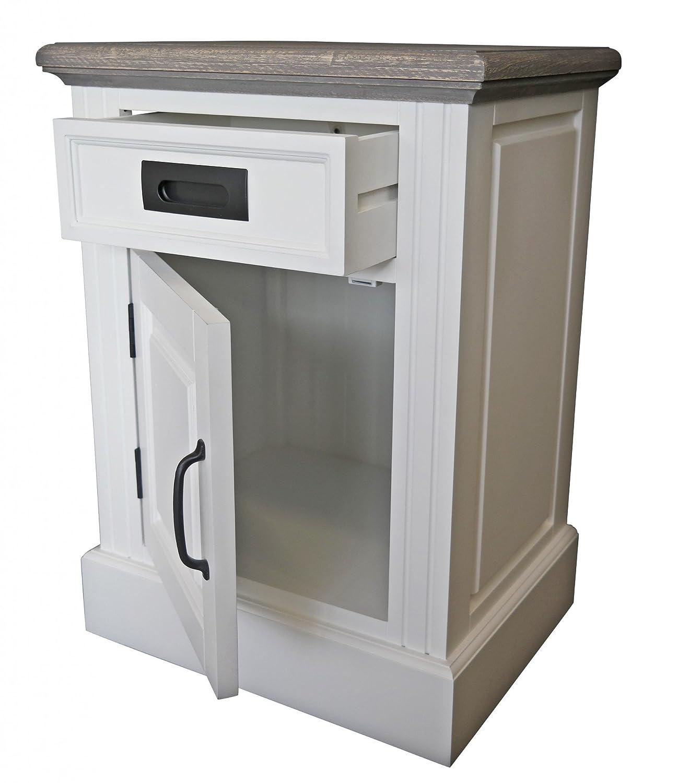 Elbmöbel Nachtkästchen Nachttisch Ablage mit Schublade weiß braun antik Landhaus aus massivem Holz Metallgriff (H64xB46xT35cm)