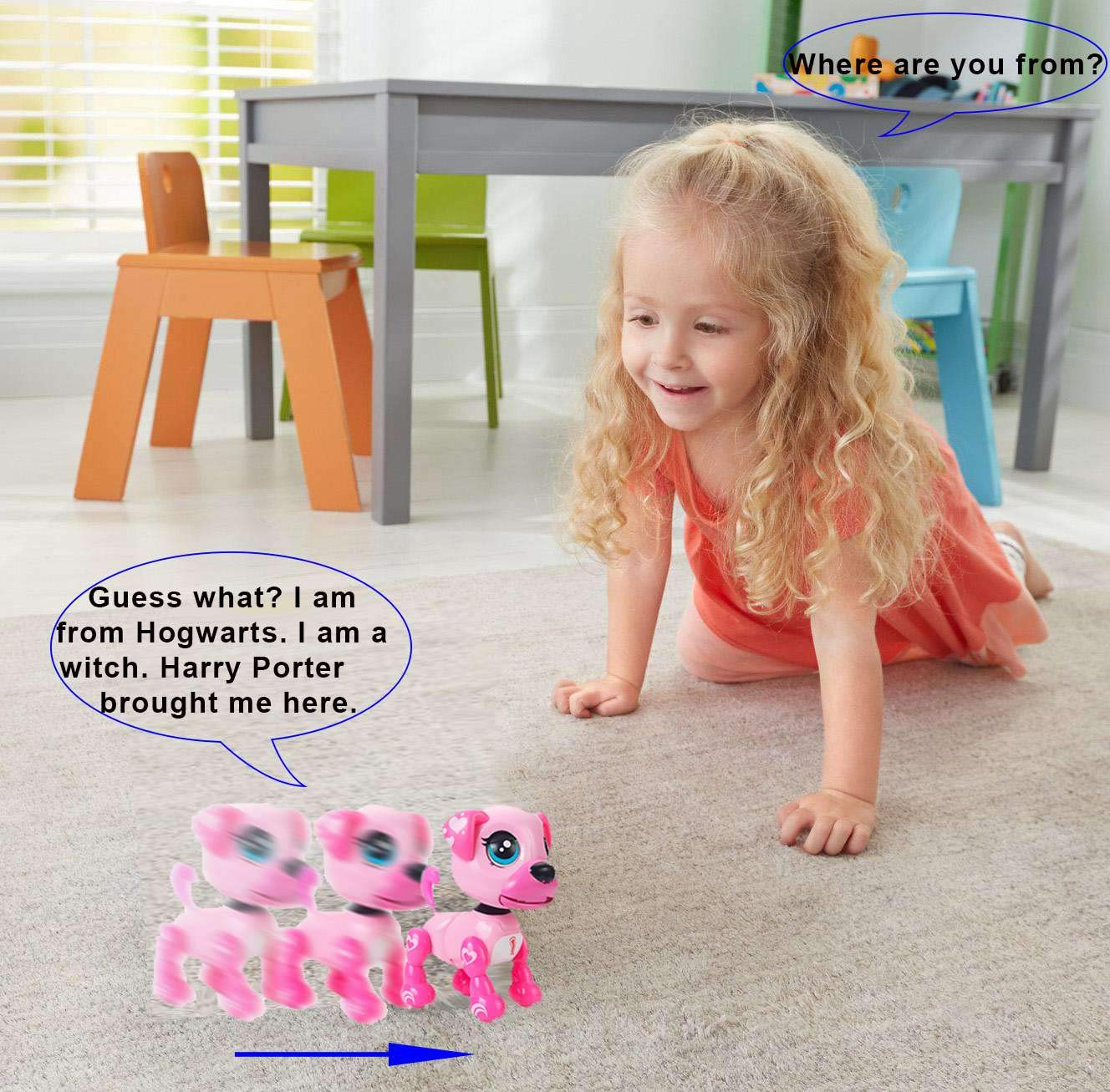 amdohai Interactive Puppy - Smart Pet, Electronic Robot Dog Toys for Age 3 4 5 6 7 8 Year Old Girls, Gifts Idea for Kids ● Voice Control&Intelligent Talking (Pink) by amdohai (Image #4)